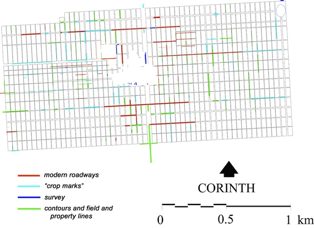 Figure 3 - Evidence for roadways in the Caesarian colony of 44 B.C. from all available sources.