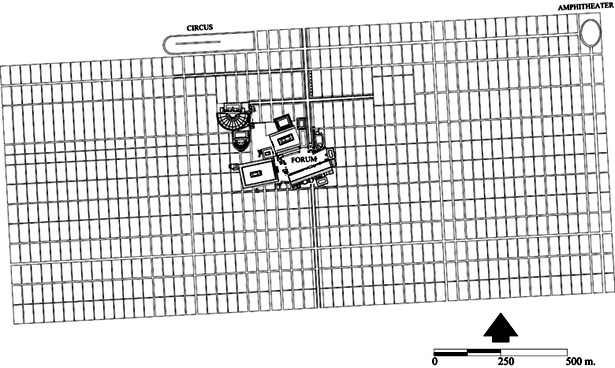 Figure 6 - Restored Roman city plan, ca. A.D. 150, illustrating existing buildings and structures within