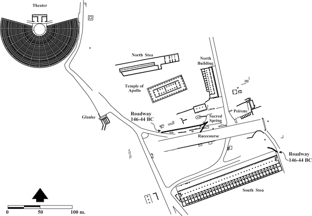 Figure 2 - Greek Corinth, 146-44 B.C., illustrating the locations of the two east-west interim period roadways.