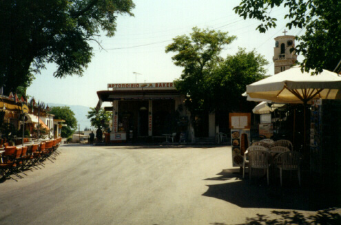 Ancient Corinth Plateia, 1995, looking east; Photograph by Leslie Kaplan