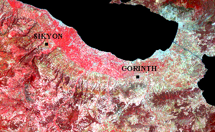 Figure 2 - Landsat thematic mapper image depicting the blue, green, and near-infrared bands with a color-composite palette