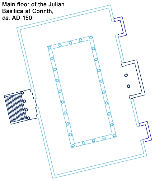 Restored plan of the Julian Basilica in Corinth, A.D. 150