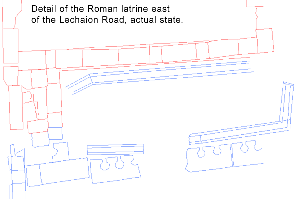 Detail of the Roman latrine east of the Lechaion Road.