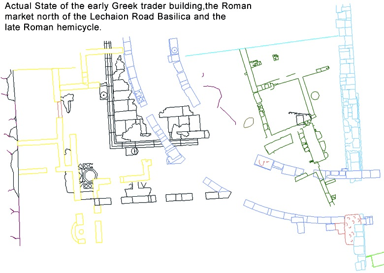 Actual state of the Roman market, early Grek trader complex, and Late Roman hemicycle.