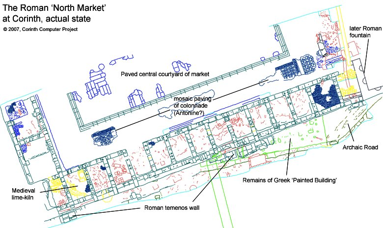 Actual state plan of the southern part of the 'North Market', with annotations.