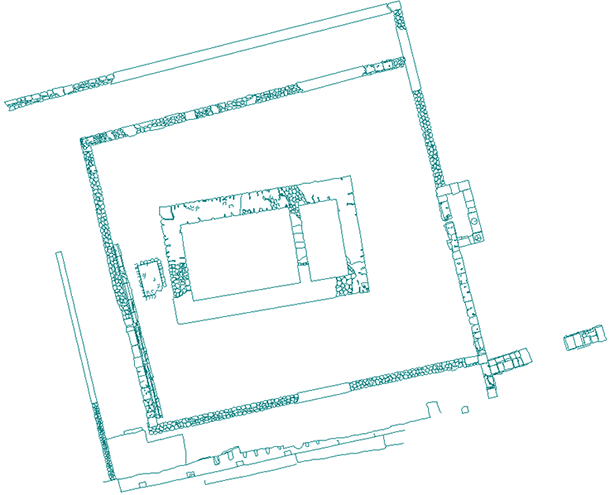 Restored plan of Temple C in Corinth, A.D. 150