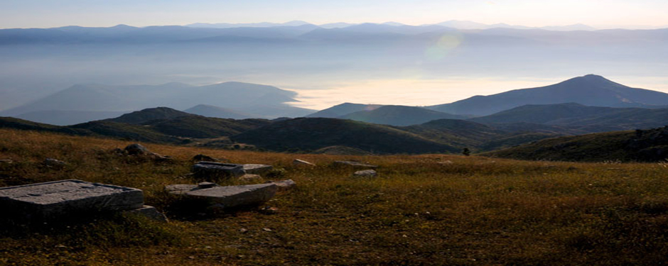 A view from the sacred precinct and the Ash Altar of Zeus on Mt. Lykaion