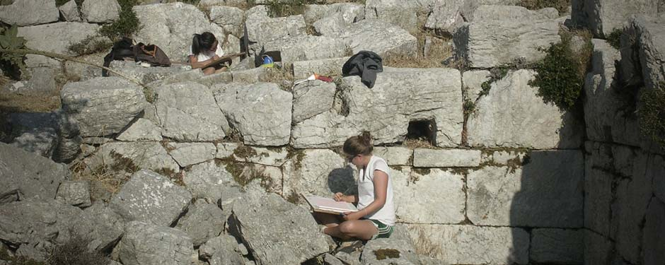 Architects Jenny Hong and Sarah Beth McKay documenting blocks at the Bath House.