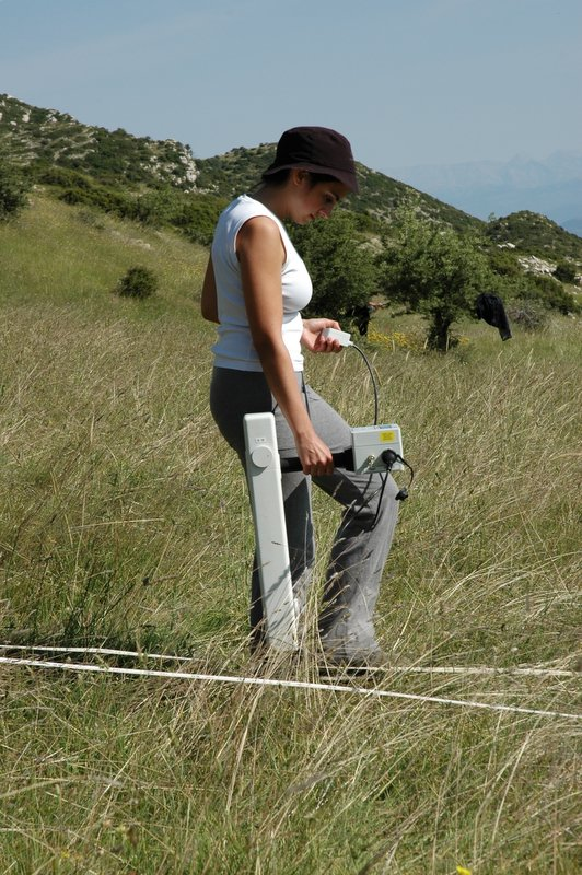 Fig. 11: Emanuela De Marco walking with magnetometry sensor.