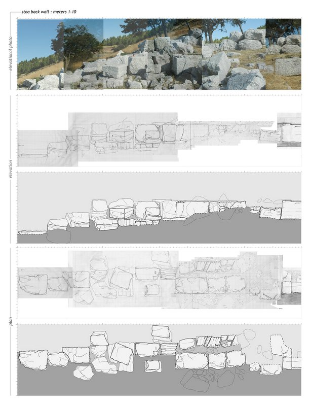 Fig. 7: Composite illustration featuring back wall of the Stoa, including photography and actual state drawings of existing blocks, section, and elevation drawings.