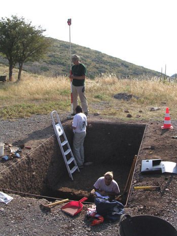 Fig. 5: Trench A at lower levels, Nick Kendall with reflector, Heather Kelly and Allisa Stoimenoff.
