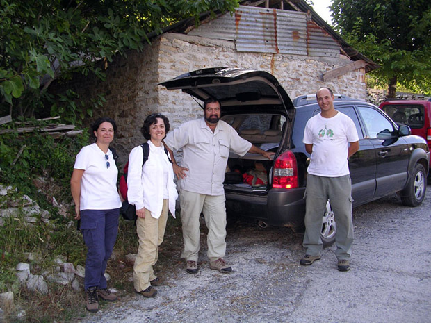 Fig. 12: Professor Yanis Pikoulas with students, Evangelia P. Eleftheriou, University of Thessaly, George Terais, University of Thessaly, Eleni Salavoura, University of Athens.