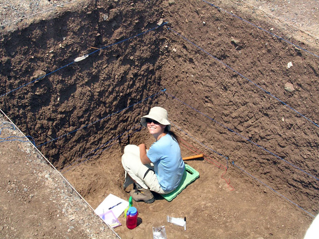 Fig. 14: Susan Mentzer taking soil samples in Trench A.