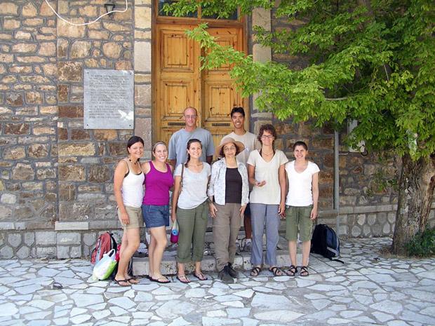 Fig. 15: In front of Xenona in Kastanochoroi, back row, Tom Fenn, John Lee, front row, Ximena Valle, Miranda Gardiner, Susan Mentzer, Susan Petrakis, Pam Jordan, Alexis Belis.