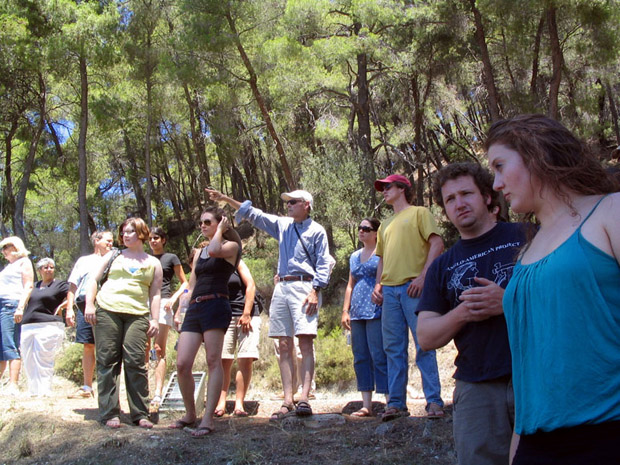 Fig. 3: David Romano lecturing during a visit to the site of Olympia.