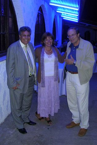 Fig. 12: Mary Voyatzis with Christos Koumoundouros, president of the Syllogos of Ano Karyes, and Kyriakos Karagiannis, former president of the Syllogos of Ano Karyes.