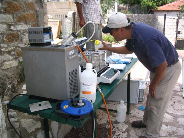 Fig. 3: Dr. Andrew Koh of UCLA performing ceramic chemical residue analysis.