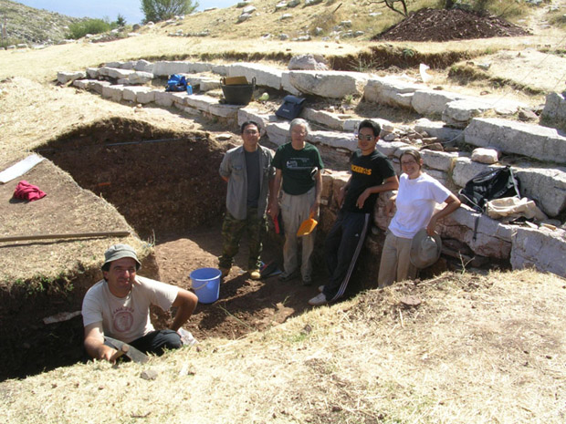 Fig. 16: L to R, Thanassis Christeas, Alex Lim, Jim Ottaway, J.T. Son, and trench supervisor Kathryn McBride in Trench G.
