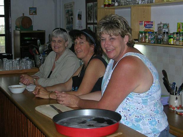 Fig. 12: Our wonderful cooks: Merrily Davis, Nancy Mueller, and Sam McBride.