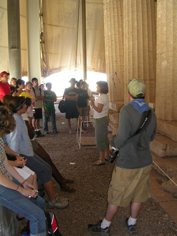 Fig. 14: Mary Voyatzis explains to the group about the Temple of Apollo at Bassai.